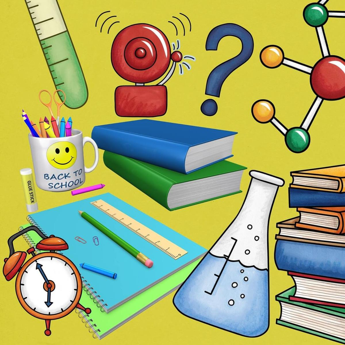 a beaker, books, alarm, back to school mug and other school objects floating around in a chaotic way