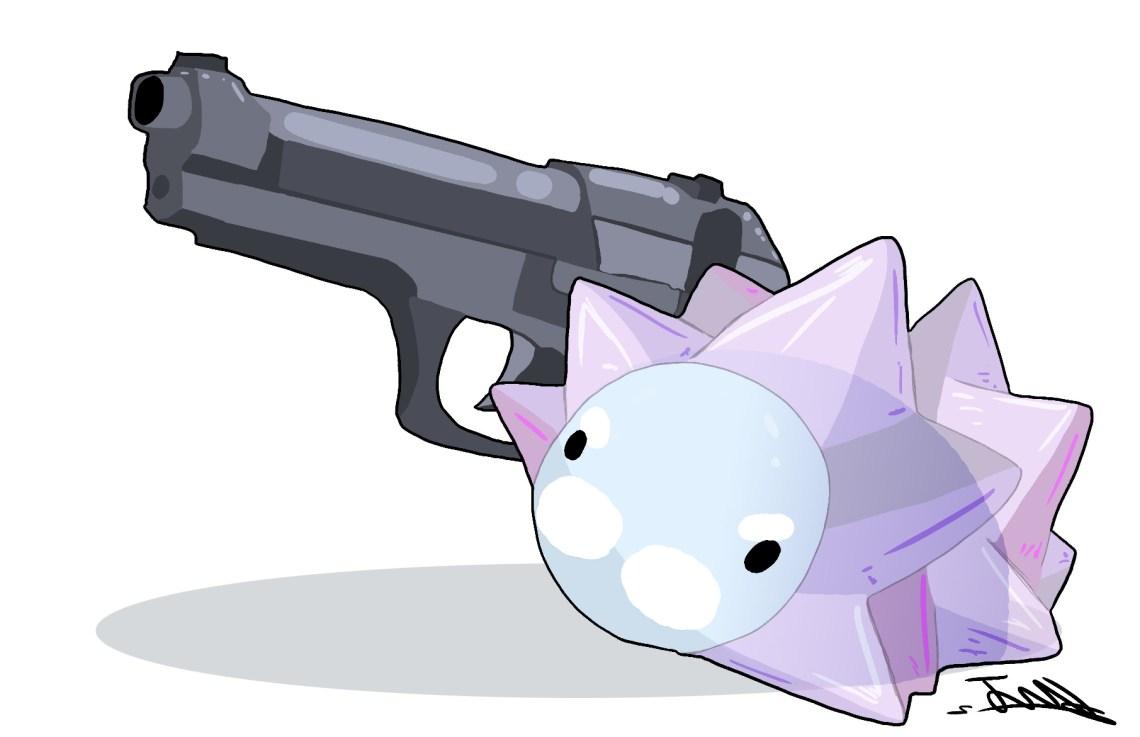 Snom holding a gun