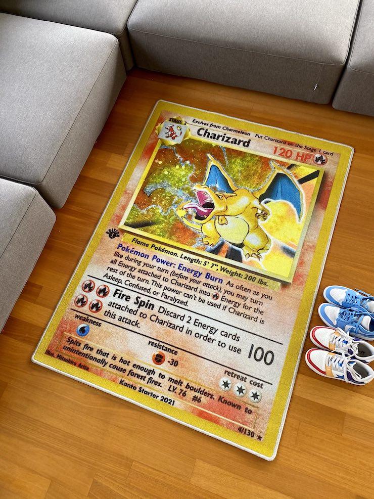 Charizard card rug