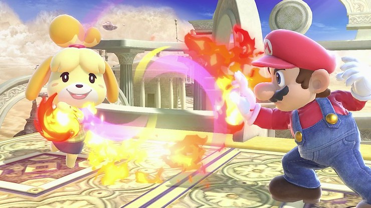 Isabelle and Mario fighting in Super Smash Bros Ultimate