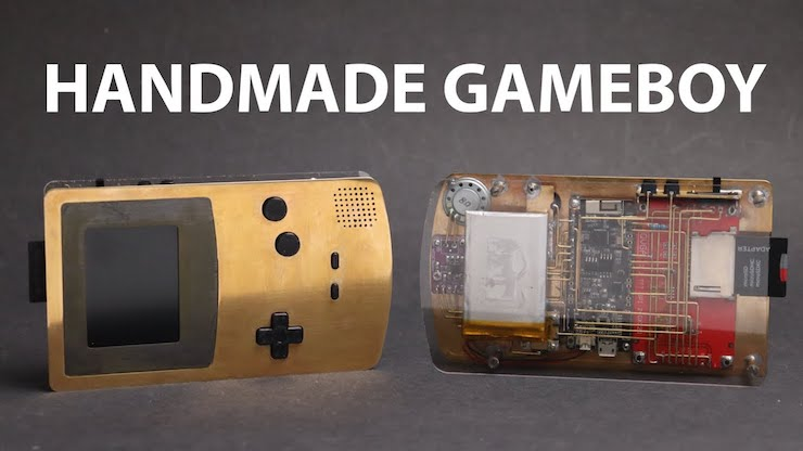 A custom Game Boy Color made of brass