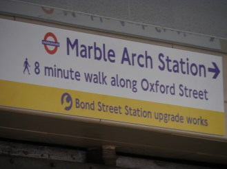 Bond Street sign for walk to Marble Arch