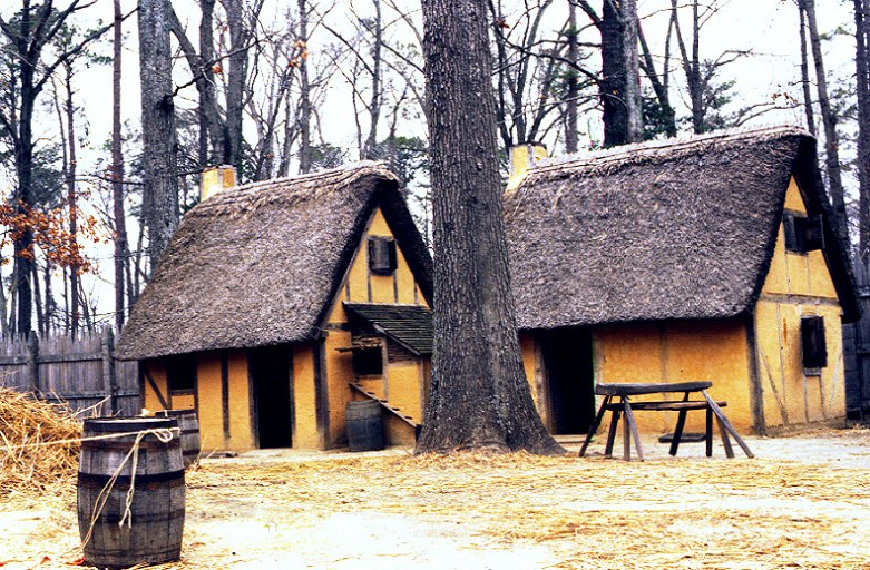 Reconstructed houses at Jamestown, VA