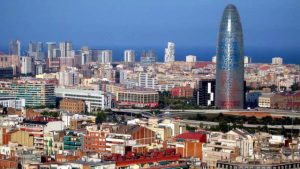 Agbar Tower in Barcelona, Spain