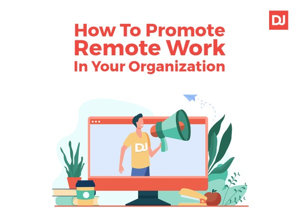 Man promotes remote work on computer screen