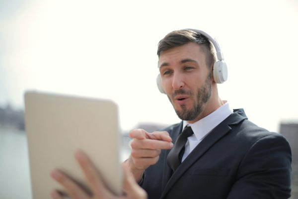 Business man talking in a video call