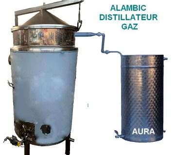 Distillateur alambic pour production d'hydrolats, et huiles essentielles chauffe au gaz