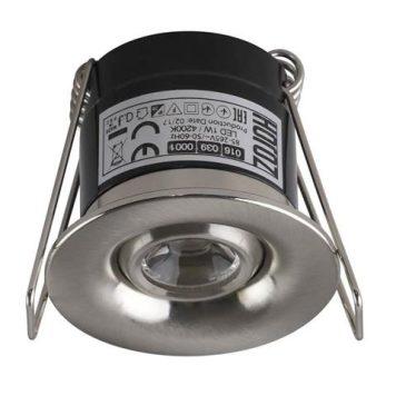Mini spot LED orientable rond 1W (8W) 4200K Mat-chrome