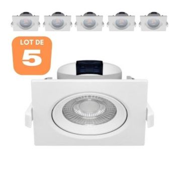 Lot de 5 Spots LED encastrables carré blanc