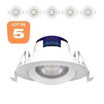 Lot de 5 Spots LED encastrables rond blanc
