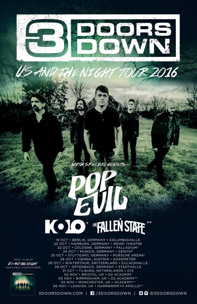 3 Doors Down UK Tour Poster 2016
