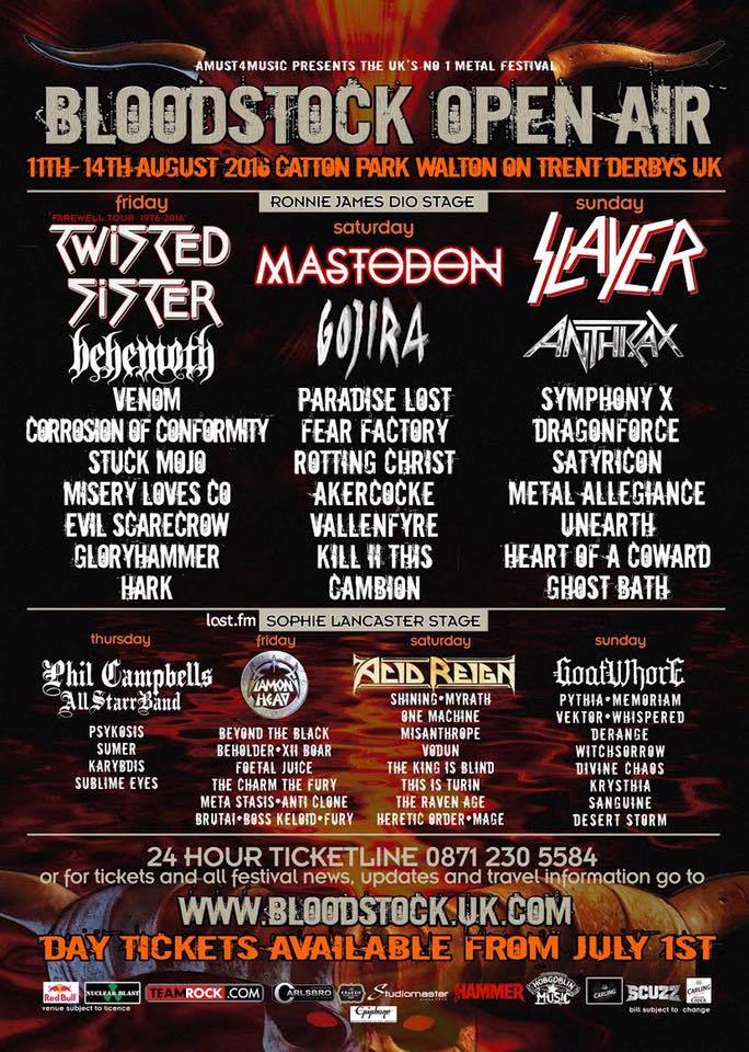 Bloodstock Open Air 2016 - Latest Poster
