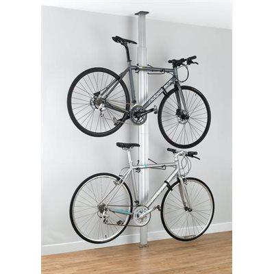 support aluminium 2 velos plancher plafond anodise argent