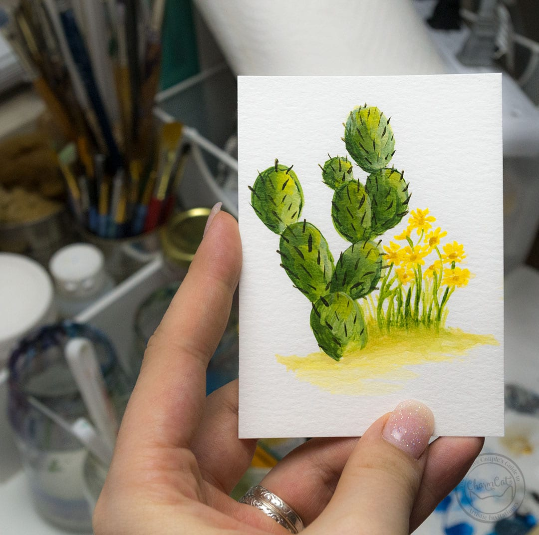 Cactus wedding invitation with yellow flowers handpainted in watercolor by CharmCat Creative