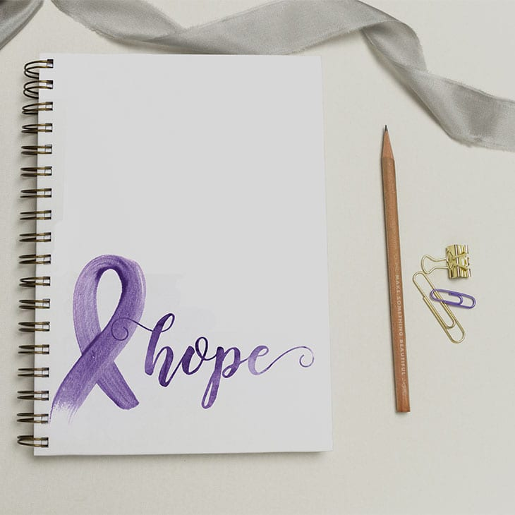 "This CharmCat Creative ""hope"" journal was hand painted in watercolor by CharmCat Creative. The calligraphy (handlettering) is perfect! 