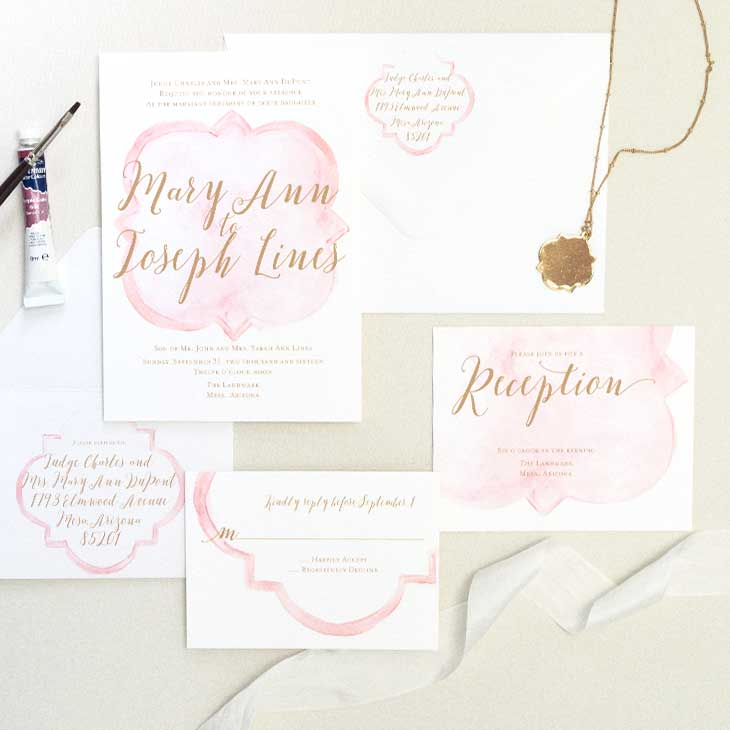 Quatre Foile Watercolor Invitation by CharmCat Creative's Ashleigh Pritchard,