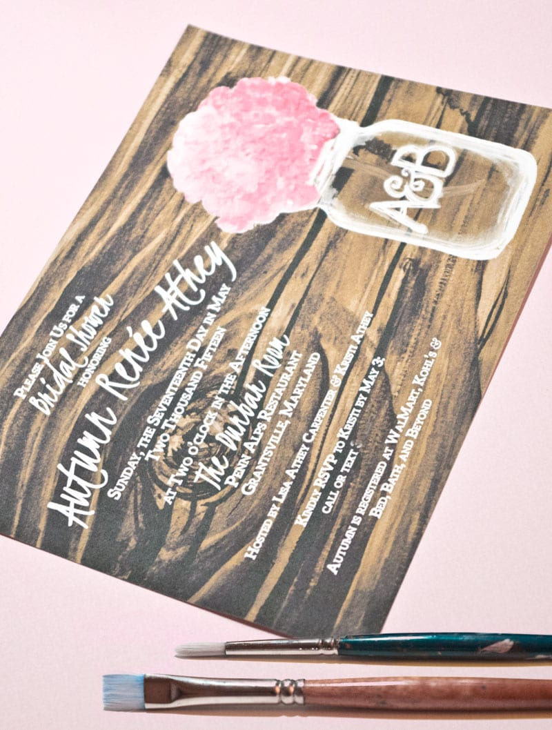 CharmCat Creative's watercolor wood and mason jar save the date is beautiful and personal | District Bliss Community Member