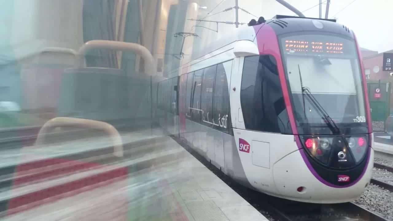 Train-Tram T11 in Paris, France