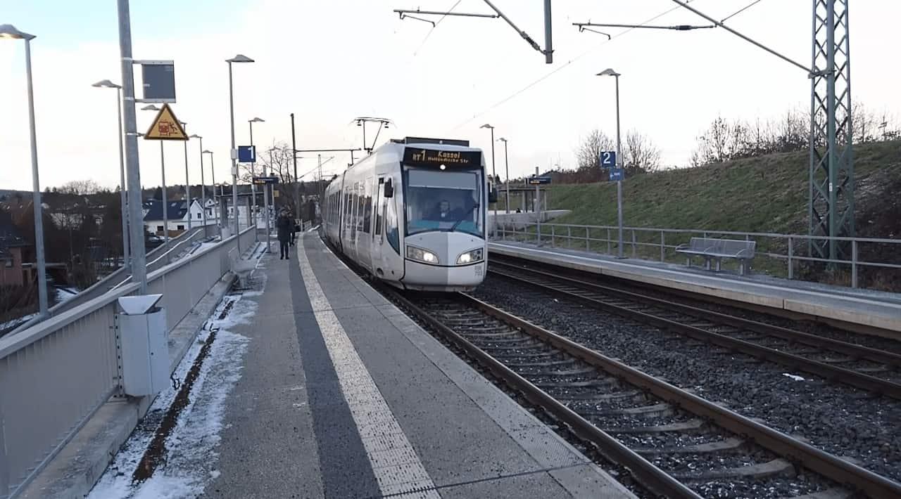 Light Rail trains on train tracks outside of Kassel Germany