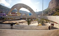 A view of the arch and footbridge which forms part of the Rocinha Complex