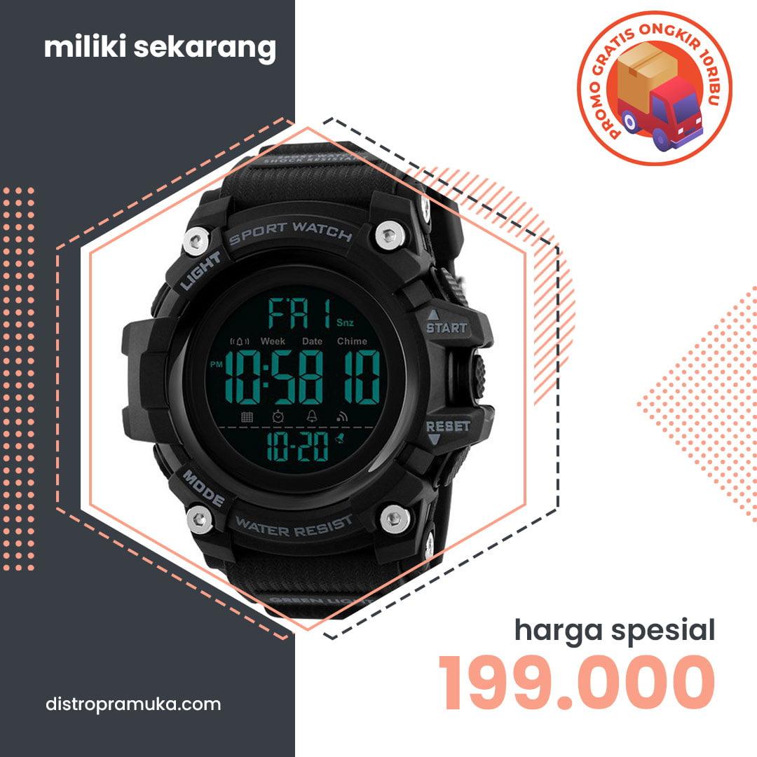 Jam Tangan Pria Digital Skmei 1384 Black Water Resistant 50m