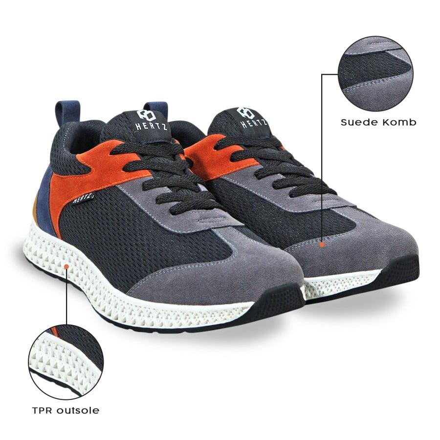 Sepatu Sneakers Pria H3341 Brand Hertz Sepatu Kets Olahraga Abu Hitam