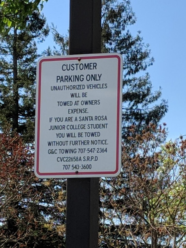 At the Safeway parking lot on Mendocino Avenue in Santa Rosa. Photograph by David Benfell, April 13, 2018.