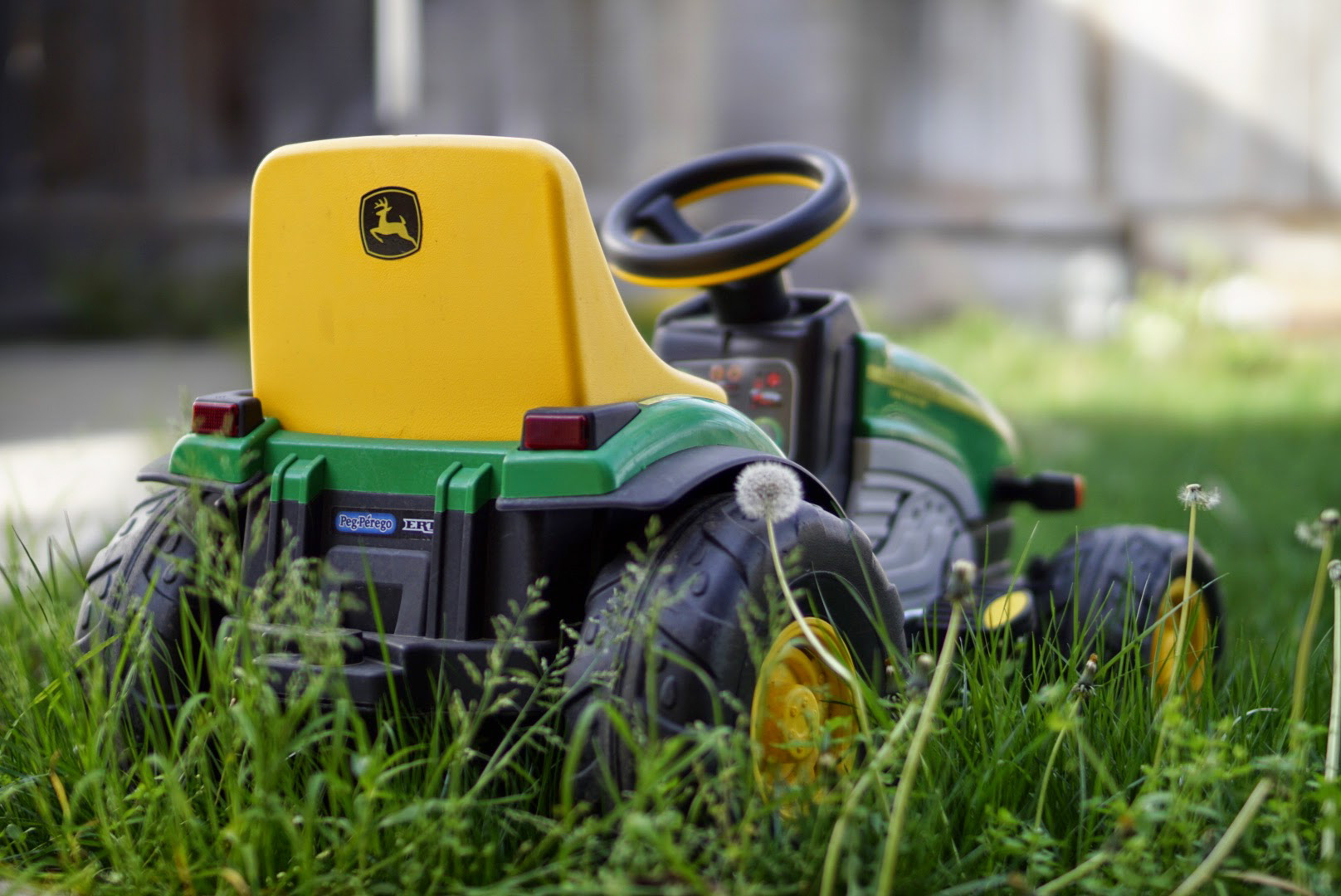 Bokeh Effect Tractor in the Grass