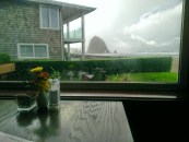 A view of Haystack Rock while we wait for lunch
