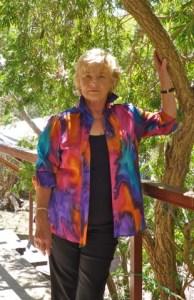 Womans shirt in fine Australian merino wool handpainted in unique colours