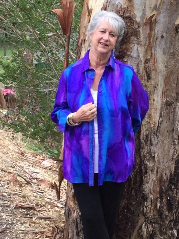 Womans Blue Purple Violet shirt in fine Australian merino wool handpainted in unique colours