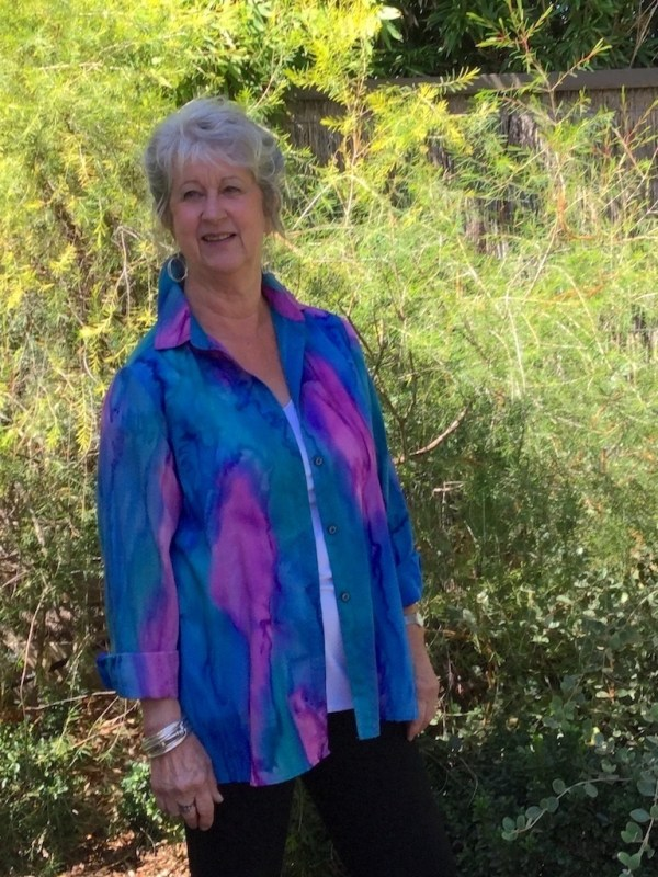 Womans Inspiration shirt in fine Australian wool handpainted in unique colours