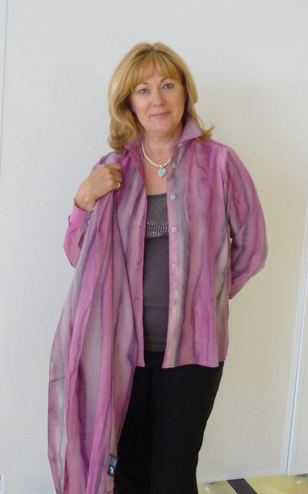 Winter Rose Womans Inspiration wrap in fine Australian merino wool voile handpainted in unique colours