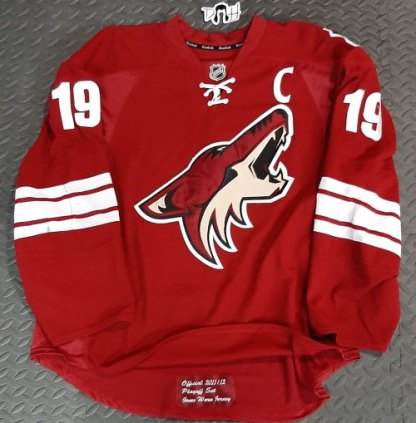Shane Doan 2012 playoff caption game worn jersey