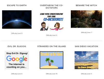 Some of the many Breakout EDU Digital games available to play at breakoutedu.com/digital.