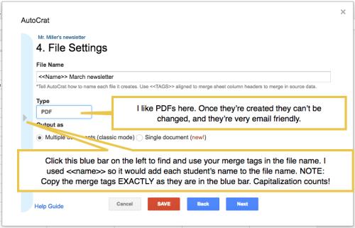 newsletter file settings