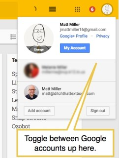 google keep toggle accts