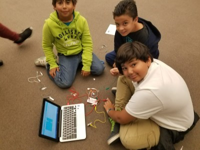 Fourth graders get hands-on with MaKey MaKey.