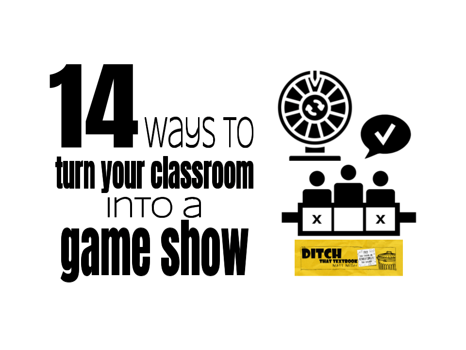 Title image: 12 ways to turn your classroom into a game show. Including google slides game templates and ideas for playing quizlet, quizizz, gimkit, kahoot and quizlet live.