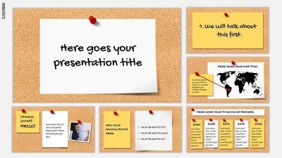 Bulletin Board Free Template for Google Slides or PowerPoint Presentations