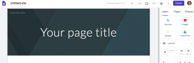 Google sites example theme layout.