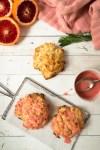 Rosemary Irish soda scones covered in blood orange glaze.