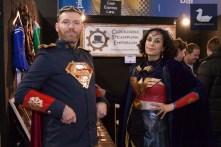 Steampunk Superman & Wonder Woman at Clockwork Steampunk Emporium's booth