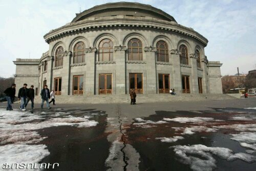 Armenia -- Liberty square facing Armenia's Opera house in Yerevan, 27Feb2012