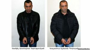 Armenia - The two men arrested on suspicion of shooting the presidential candidate Paruyr Hayrikian, Yerevan, 08Feb2013.