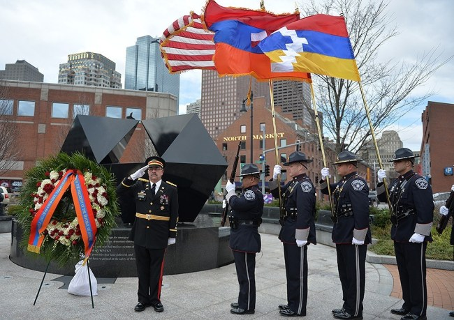 US, Armenian and Karabakh flags waving proudly in the Armenian Heritage Park in Boston