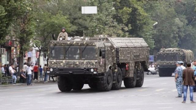 Armenia revealed it owned a set of 9K720 Iskander (SS-26 'Stone') short-range ballistic missiles (SRBMs) in its military parade on 21 September, 2016 Source: Karen Vrtanesyan / Razm.info