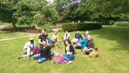 Group enjoying foraged herbal tea at the end of a foraging course