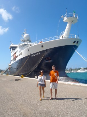 Dr. Adrian Glover and I in front of the RRS James Cook.