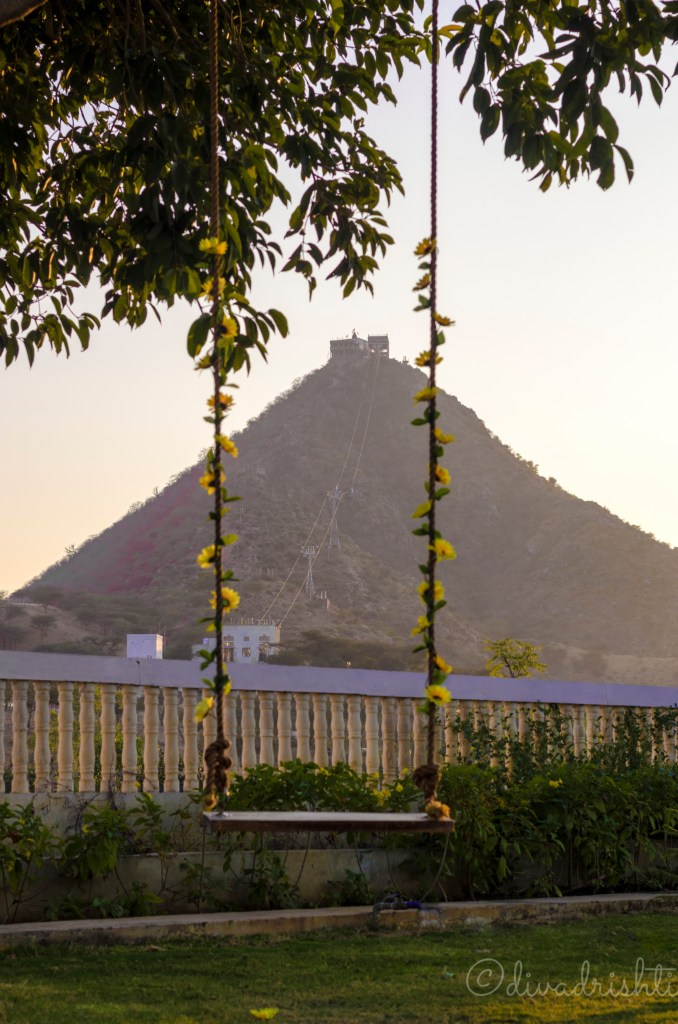 View of the temple hill from a resort in Pushkar